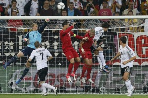 Germany's goalkeeper Neuer makes a save during their Group B Euro 2012 soccer match against Portugal at the New Lviv stadium in Lviv